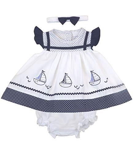 BabyPrem Baby Dress 3 Piece Set Sailing Boats Navy 0-3 Months