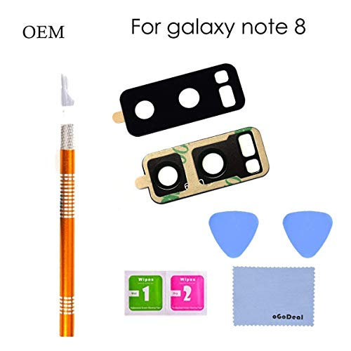 oGoDeal OEM Original Back Rear Camera Glass Lens Cover Replacement for Samsung Galaxy Note 8 with Tool Kit and Adhesive Preinstalled
