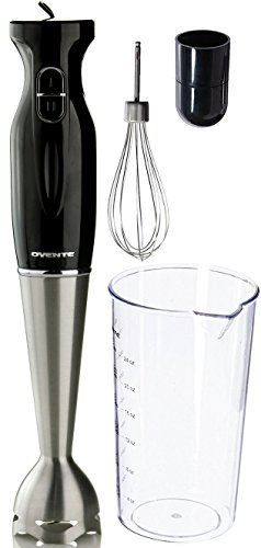 Ovente Multi-Purpose Immersion Hand Blender Set - 300-Watts, 2-Speed - Stainless Steel Blades and Detachable Shaft - Includes Egg Whisk and BPA-Free Beaker (24 oz) - Black (HS583B)