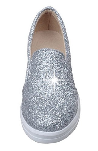 Amoonyfashion Femmes Paillettes Solide Pull-on-bas Talon Bas Pompes-chaussures Argent