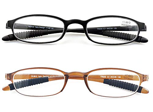 Lightweight Reading Glasses,Flexible(Memory Plastic) Readers,2 Pairs Men and Women by Mcoorn (Black and Brown, 2.25 diopters)