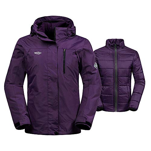Wantdo Womens Windproof 3-in-1 Ski Jacket Waterproof Windbreaker with Detachable Puffer Liner Insulated Winter Coat for Skiing,Light Purple,X-Large