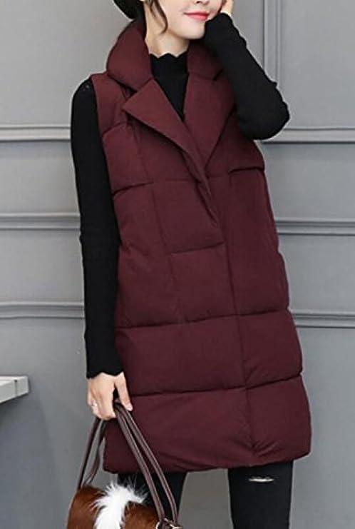 Kljr Caldo Imbottito Gilet women Long Winter Plus Size r0Hqpr8