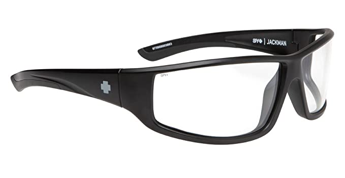 580fe4fe14 Amazon.com  Spy Jackman Sunglasses Matte Black Clear ANSI  Clothing
