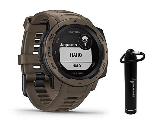 Garmin Instinct Tactical Edition GPS Watch and Wearable4U 2200 mAh Power Bank Bundle (Tactical Coyote Tan)