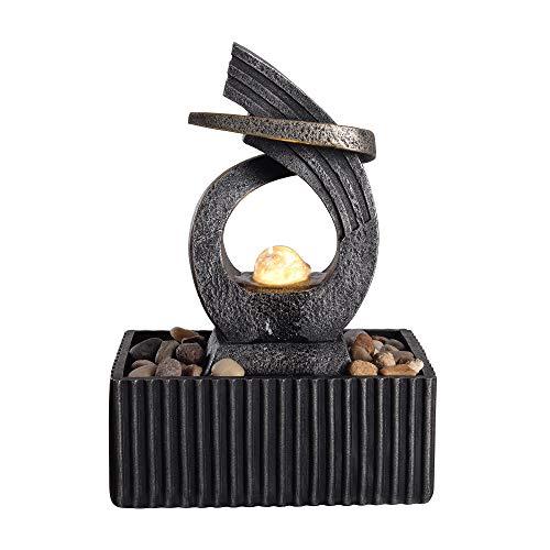 (Peaktop Tabletop Water Garden Zen Fountain with LED Light, 8.3