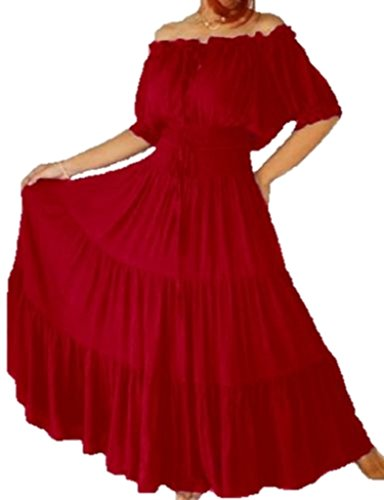 LOTUSTRADERS Peasant Mexican Maxi Dress Rayon Blood Red 3X A7580