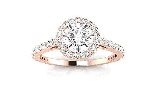 1 Carat t.w. 14K Rose Gold Round Classic Halo Style Pave Set Round Shape Diamond Engagement Ring H-I I2 Clarity Center Stones.