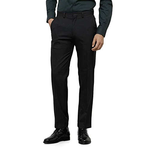 Kenneth Cole REACTION Men's Twill Stretch Modern Fit Flat Front Pant, Black, 36x32