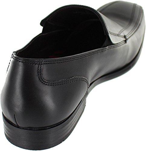 Base London Mens Harrison Smart Casual Waxy Leather Loafer Shoes Black