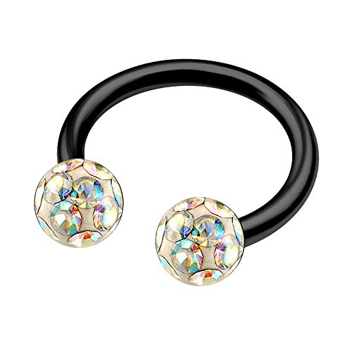 Anodized Titanium 16g 5/16 8mm Mens Circular Barbell Earrings Piercing Jewelry Nose 4mm Aurora Borealis Ferido Crystal M5304 (Titanium Belly Button Rings 16g)