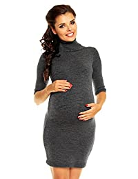 Zeta Ville Womens Maternity Warm Knit Bodycon Mini Dress Tunic Polo Neck - 125c