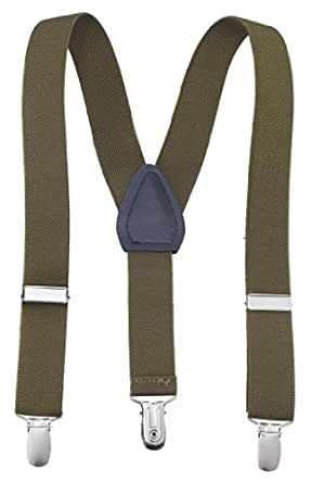 Sportoli Kids and Baby Adjustable Elastic Solid Color Wedding SUspenders - Olive, 26""