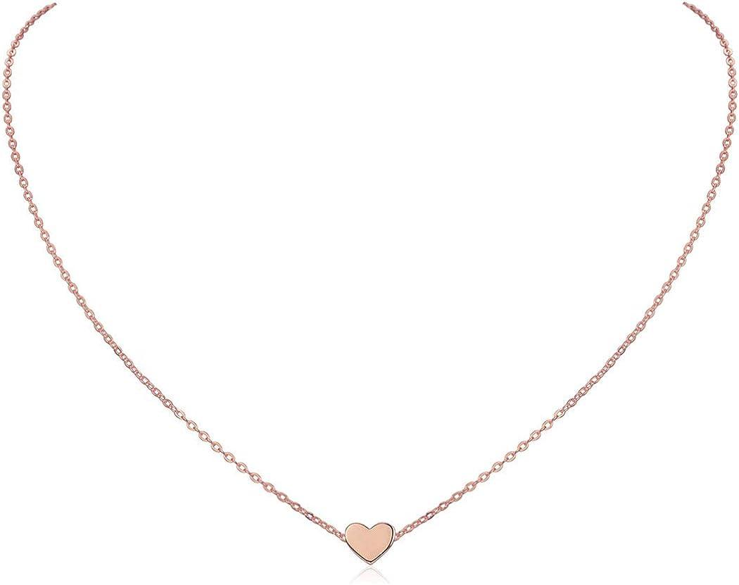 ChicSilver Collar Delgada de Clavícula para Mujer Plata de Ley 925 Chapado en Platino/Oro/Oro Rosa Joyería Simple y Elegante Regalo Romántico Colgante Corazón/Redondo/Estrella/Luna