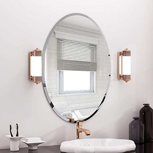"""Oval Beveled Polished Frameless Wall Mirror for Bathroom, Vanity, Bedroom (24"""" W x 35"""" HOval)"""