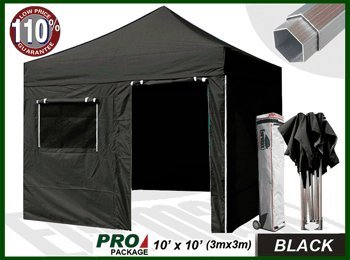 Eurmax Professional Ez Pop up Canopy Party Tent High Commercial Grade Full Aluminum Frame with 4 Sidewalls Walls and Wheeled Storage Bag, 3 Sizes, 5 Colors Choose