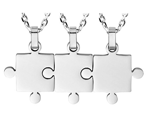 Ztuo Puzzle Friendship Pendants Gift Best Friends Forever Big Lil Sis Sister Necklace Set 3 Piece Silver
