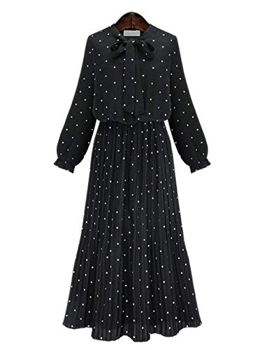 D.B.M Women's Elegant Slim Stretch Waist Polka Dot Printed Long Chiffon Dress (Medium, Black)