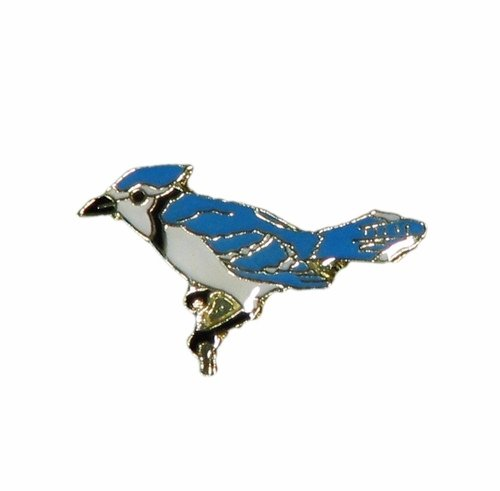 _. Blue Jay Wildlife Small Metal Lapel Pin Badge 1 X 1/2 Inches New ()
