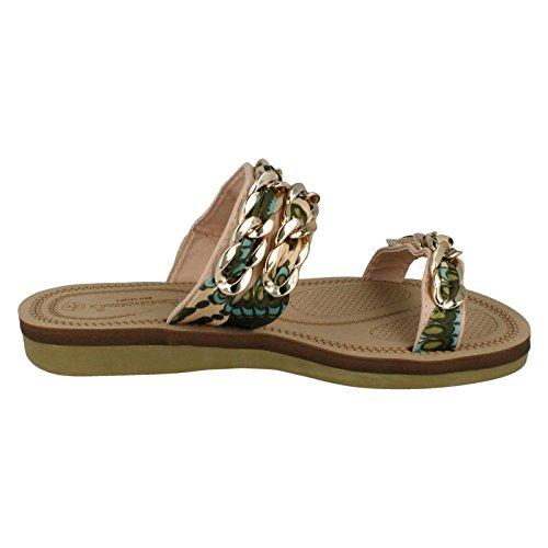 doble trenzada para plana correa color caqui damas Sandalias de de verde Savannah t1xqEwWSWp
