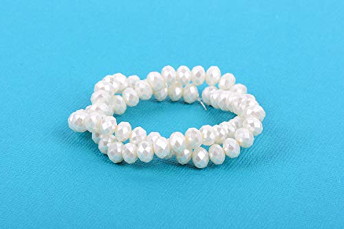 - 8x6mm Metallic Pearl Off-White Crystal Glass Faceted Rondelle Beads bgl0083 Jewelry Making Supplies Set Crafts DIY Kit