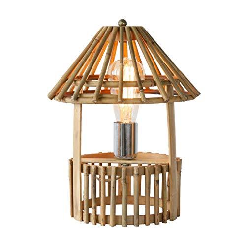 ZXW Lámpara de Mesa Lámpara de Mesa de bambú Creativa del jardín de la Vendimia, Amarillo los 27x35cm