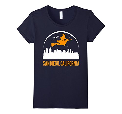 Womens Witch Of California's City San Diego Cool Funny T-shirt Large Navy (San Diego State Halloween Costumes)