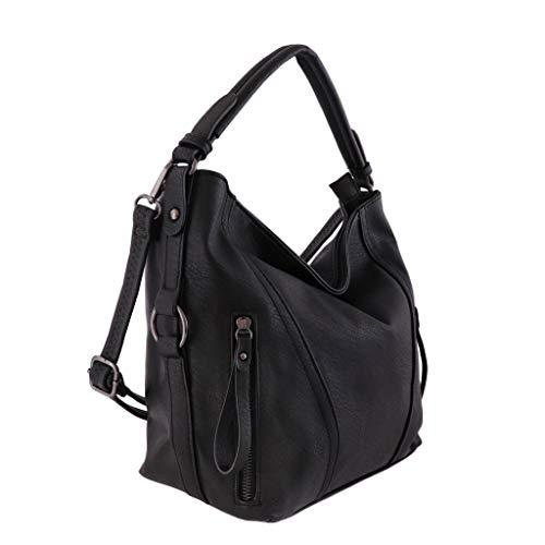 Handväska, svart, skinnimitation