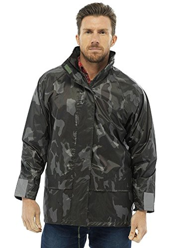 Mens Raincoat Camouflage (Shelikes Mens Lightweight Camouflage Waterproof Hooded Army Print Fishing Outdoor Raincoat Jacket_60A315_Camo_S)