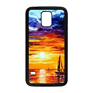 Painting of Boats in the Sea at Sunset Samsung Galaxy S5 Cell Phone Case Black phone component RT_180106