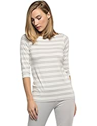 Yala KBT1120 Medium Oyster/Natural Stripe BambooDreams Kai 3/4 Sleeve Boatneck Top