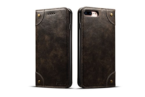 Wallet Case for iPhone 7 Plus/8p Leather,Khaki Retro Texture Folio Card Holder Cover Kickstand Protective Durable Men Boy Gift Shell