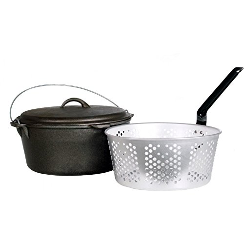 Cajun Cookware Dutch Ovens With Fry Basket 9 Quart Seasoned Cast Iron Dutch Oven (Aluminum Perforated Dutch Oven)