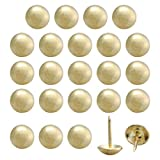uxcell 24pcs Furniture Tack Nails Pins 14mm Dia Round Head Metal Thumbtack Vintage Style DIY Sofa Headboard Crafts Decorate Gold Tone