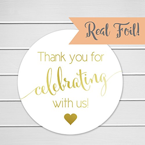 Gold Foil Thanks for Celebrating with Us Stickers, Wedding Favor Labels (Bell Gold Stickers)