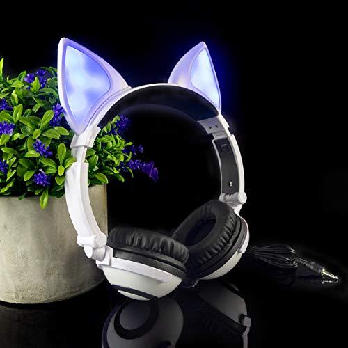 LIMSON Over-Ear Headphones,Stereo LED Light Up On-Ear Headphones for Kids Girls Boys Adults,Gaming Earphones for Phones Tablet MP3 iPad (White)