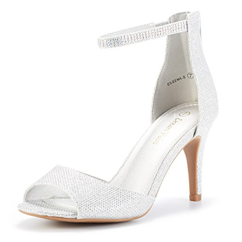 DREAM PAIRS Women's EILEENA-S Shine Silver Peep Toe Stiletto Ankle Strap Pump Heel Sandals Dress Wedding Party Evening Shoes Size 7.5 B(M) US ()