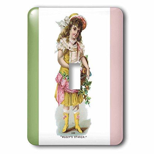 3dRose lsp_169611_1 Muzzys Starch Young Girl with a Basket of Flowers in Victorian Dress Light Switch Cover