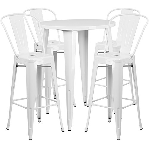 "Flash Furniture 30"" Round White Metal Indoor-Outdoor Bar Table Set with 4 Cafe Stools For Sale"