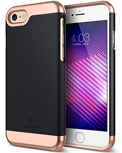 iPhone 6S Case, Caseology [Savoy Series] Chrome/Microfiber Slider Case [Black] [Premium Rose Gold] for Apple iPhone 6S (2015) & iPhone 6 (2014) - Black
