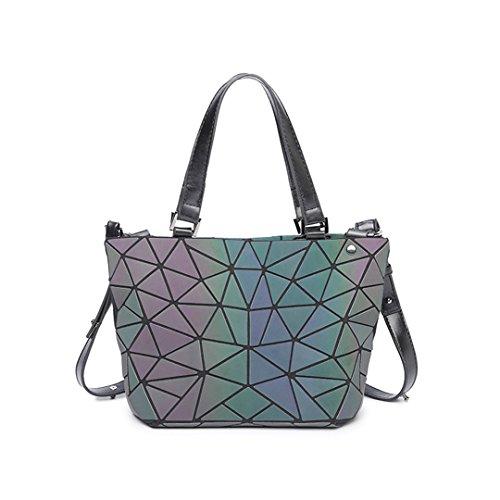 Main Bag Treasure GéOméTrique Femme Small PVC Arc Ciel Luminous Plaid Casual Pliant en Sac Mode À n8RqO8Hxpw