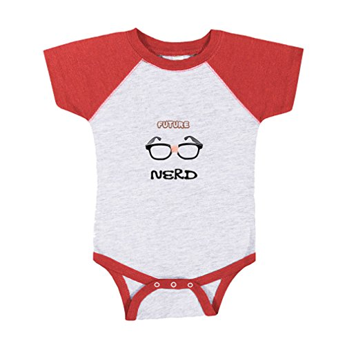 Future Nerd Picture Black Nerdy Glasses Baby Baseball Raglan Bodysuit Gray/Red 12 - Of Nerdy Pictures Glasses