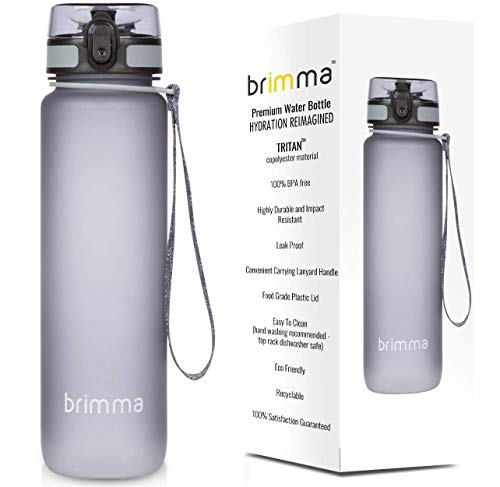 Brimma Premium Sports Water Bottle with Leak Proof Flip Top Lid – Eco Friendly & BPA Free Tritan Plastic – Must Have for The Gym, Yoga, Running, Outdoors, Cycling, and Camping