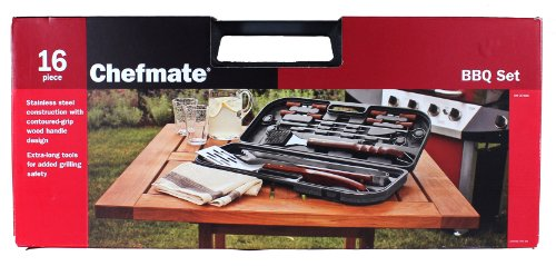 Chefmate Stainless Steel 16 Piece Barbeque BBQ Set with Over