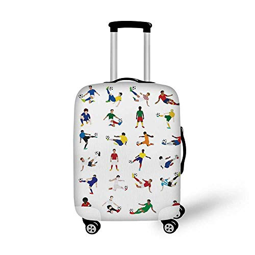 Sports Decor Stylish Luggage Cover,Collection of Soccer Players League Pastime Practicing Different Poses for Luggage,M(19.6''W x 28.9''H) (Best Byu Football Players)