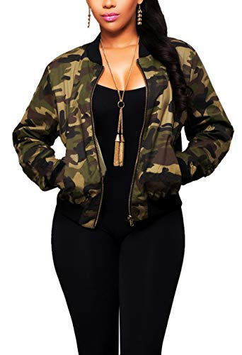 - Women Camo Casual Jacket Sexy V Neck Long Sleeve Bodycon Camouflage Military Coat Pockets Zipper Slim Fit Lightweight, Army Camo, XX-Large
