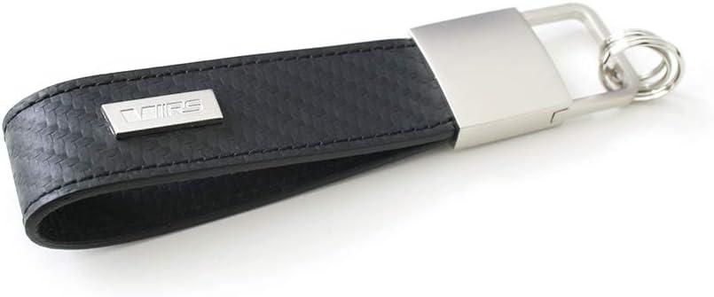 Skoda Mvf76 032 Schlüsselanhänger Rs Rindsleder Carbonopitk Design Anhänger Karabiner Schwarz Mittel Auto