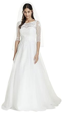 cdc5c6d19239 3/4 Sleeve Wedding Dress with Lace and Tulle Skirt Style WG3742, Ivory,