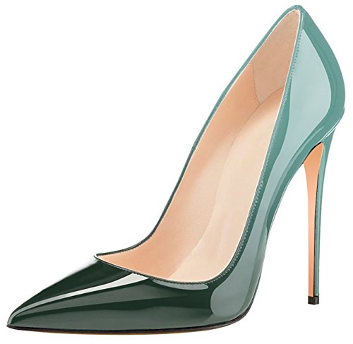 Eldof Womens High Heel Pumps Classic 4.72in Patent Pointed Toe Stilettos 12cm Wedding Party Dress Pumps Emerald AGvnX9t0