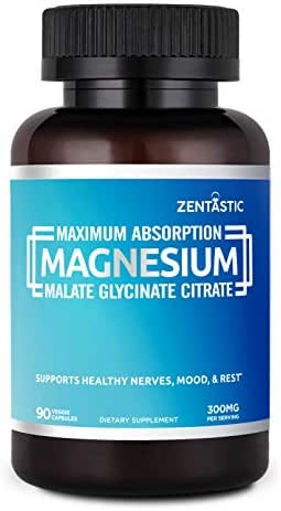 Zentastic Triple Magnesium - 300mg - Magnesium Glycinate, Malate, Citrate for Improved Sleep, Relaxation, Cramps, Anxiety Relief - Max Absorption - Non-GMO, Gluten Free, 90 Veggie Capsules